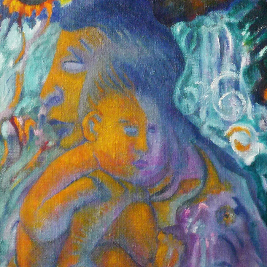 Stylized painting of a parent holding a child