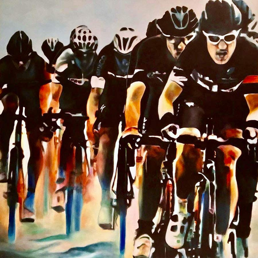 Painting of several cyclists racing