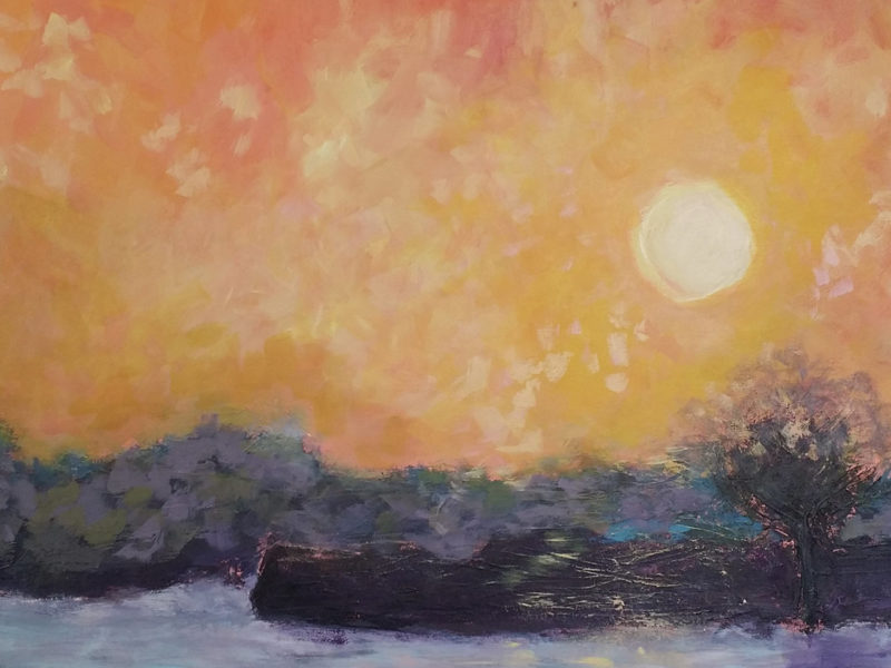 Slideshow image by Catherine Eichstedt - painting of sun just over the horizon (Red Sky)