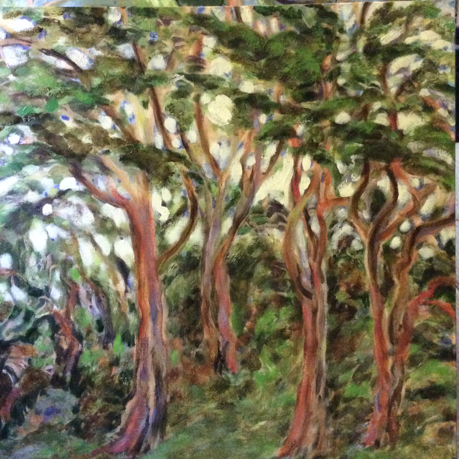 Stylized painting of trees