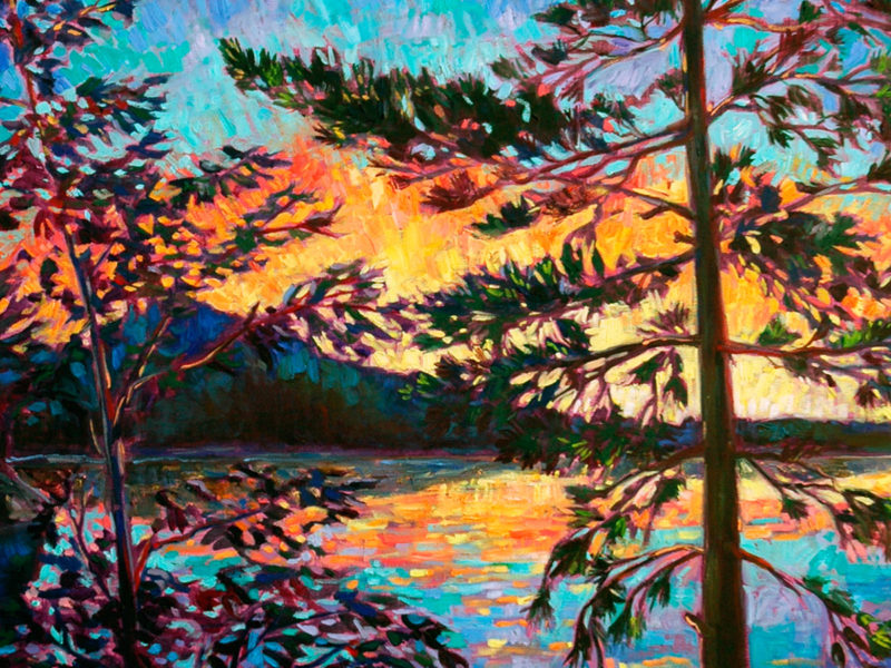 Slideshow image by Corinne Garlick - painting of a lake as seen through a couple of trees at sunset