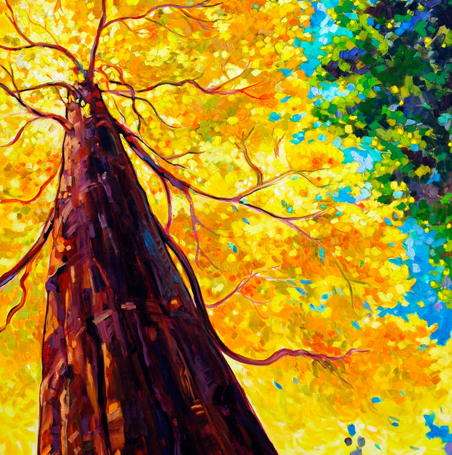 Painting of a tall tree, seen from the base, with yellow and orange leaves