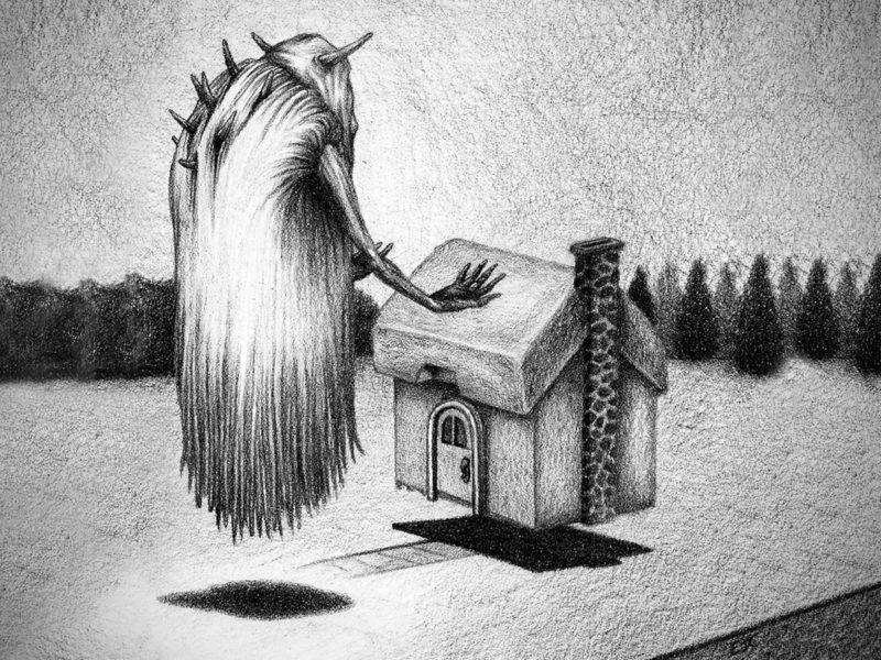 Slideshow image by Eric Cator - drawing of large furry floating creature with horns causing a house to levitate