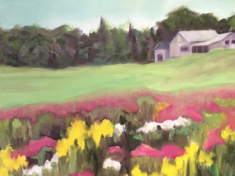 Slideshow image by Ingrid Arnet Connidis - stylized landscape painting showing flowers in the foreground and a house near a forest in the background