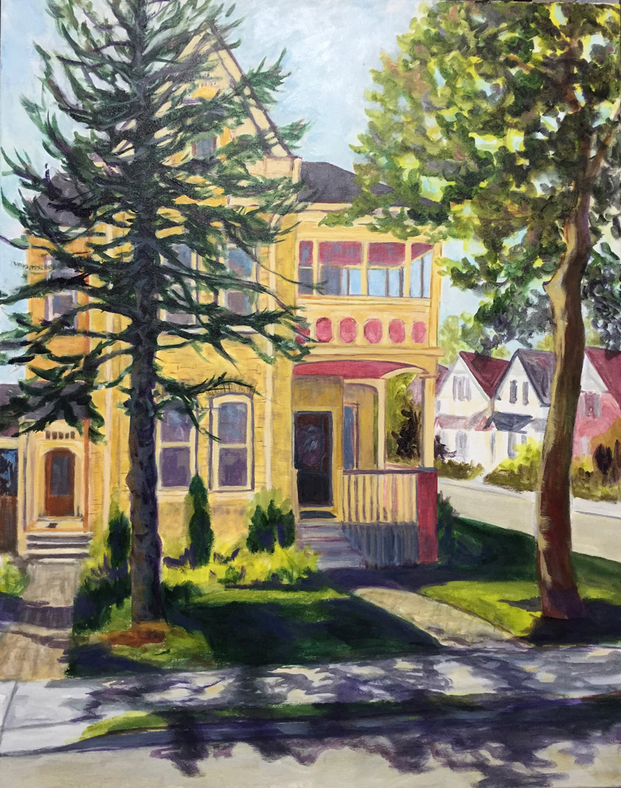 Painting of a two-storey yellow house with large trees in the front yard