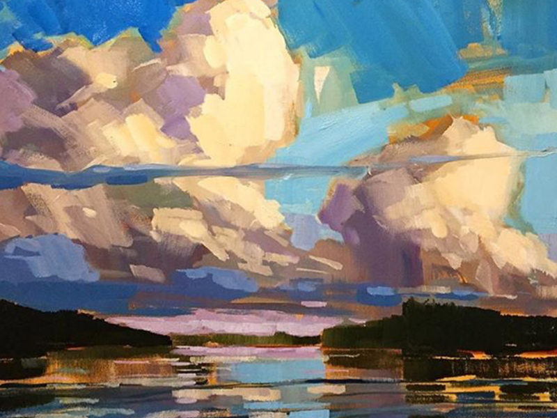 Slideshow image by Jamie Jardin - landscape painting of clouds over water
