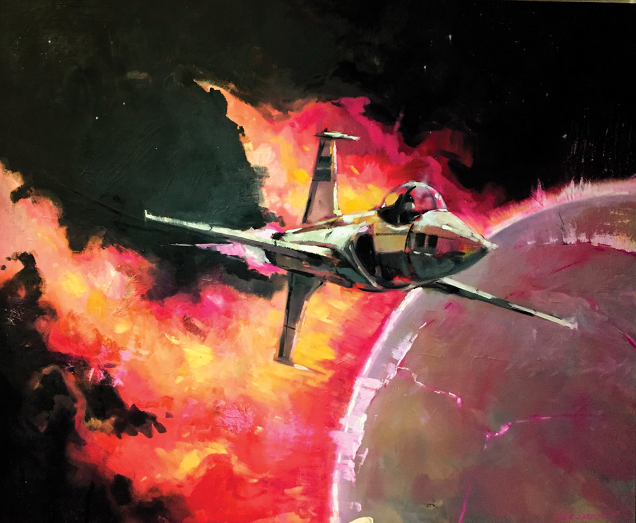 Painting of a jet-like ship in space