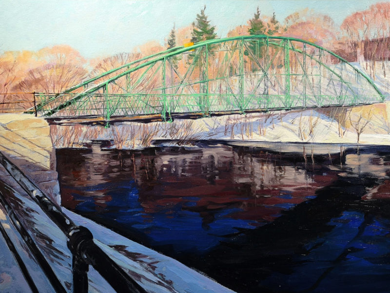 Slideshow image by Kevin Bice - painting of Black Friar's bridge in London, ON (The Bridge in Winter)