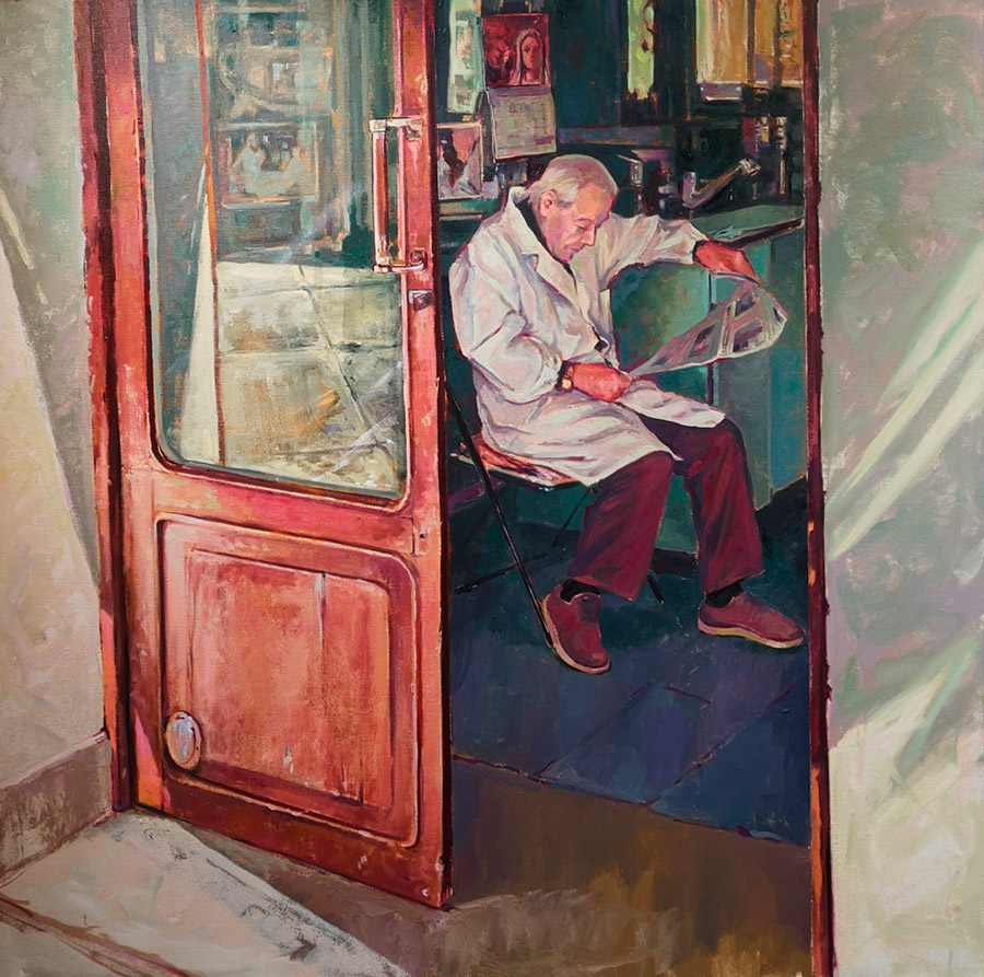 Painting of a man wearing a white coat, sitting and reading a paper in a barber shop