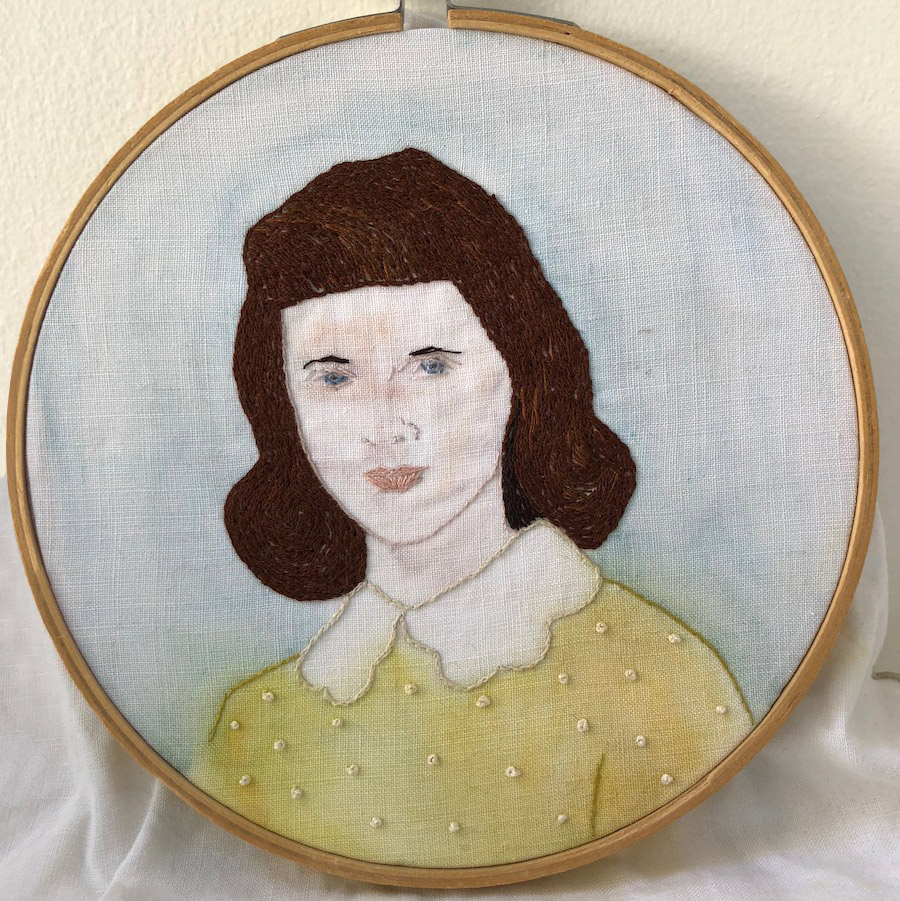 Portrait of a woman in needlepoint