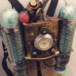 Sculpture of a steampunk style jetpack