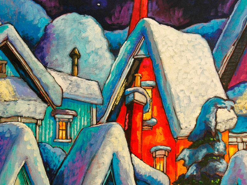 Slideshow image by Peter Karas - painting of snow covered houses