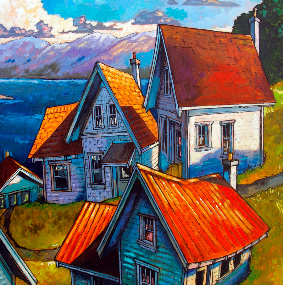 Stylized painting of houses on a hill