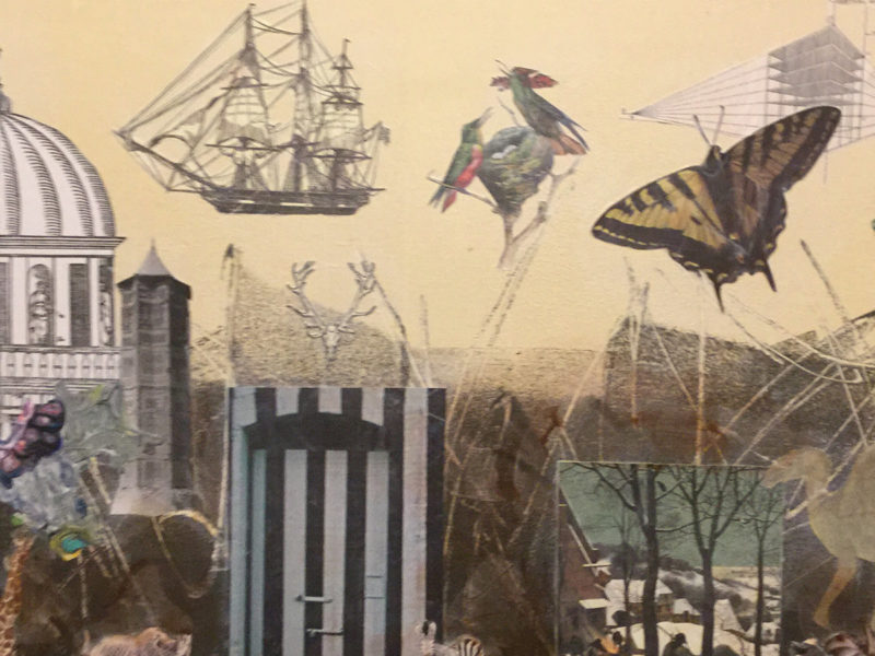 Slideshow by Sarah Cowling - collage artwork showing buildings, birds, butterflies and a sailing ship