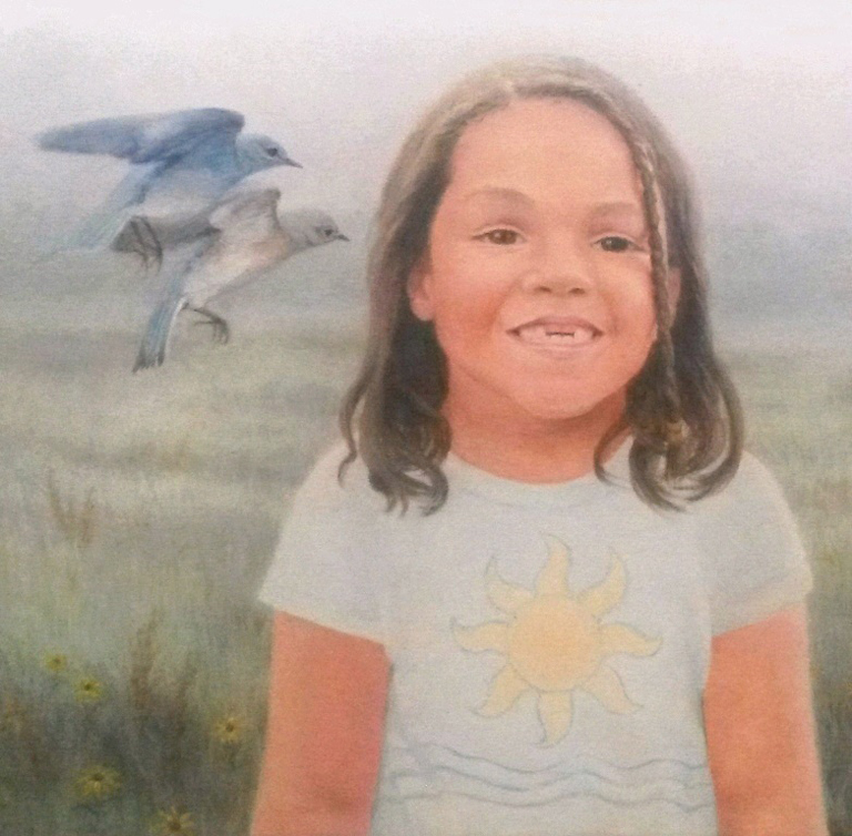 Marshall, Jeanette - Bonding: painting of a small girl with two blue birds