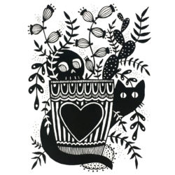 Woodward, Jessica - stylized print of two cats behind a plant