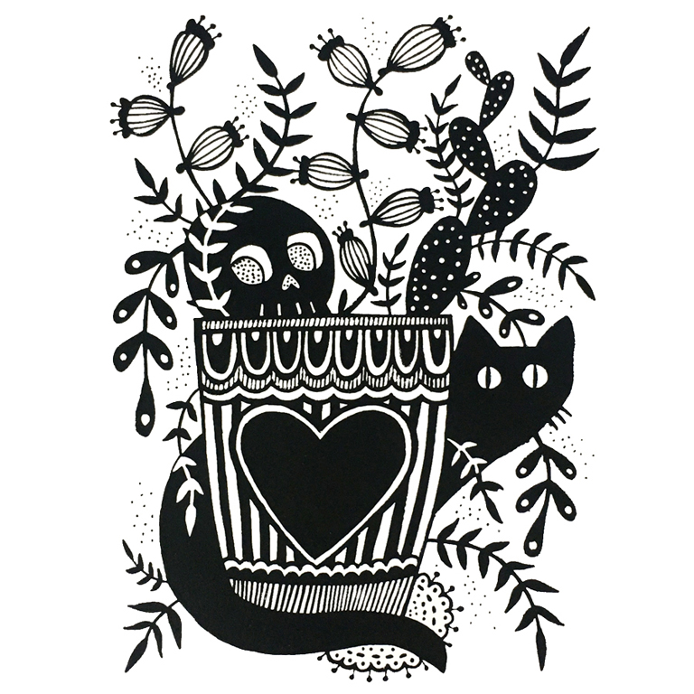 Woodward (Desparois), Jessica - stylized print of two cats behind a plant