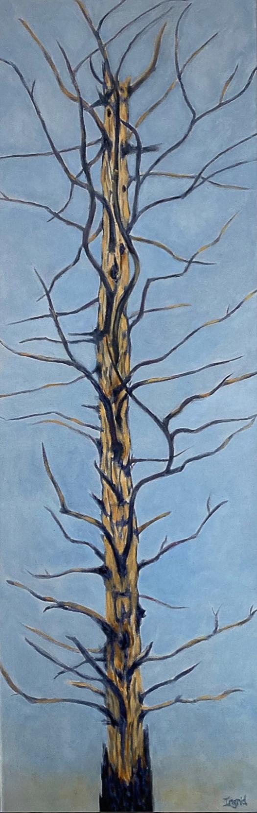Connidis, Ingrid Arnet - tall painting of leafless tree against blue sky