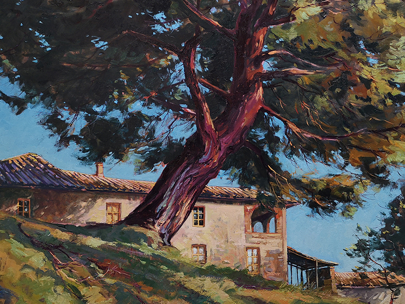 Bice, Kevin - painting of large tree next to a house