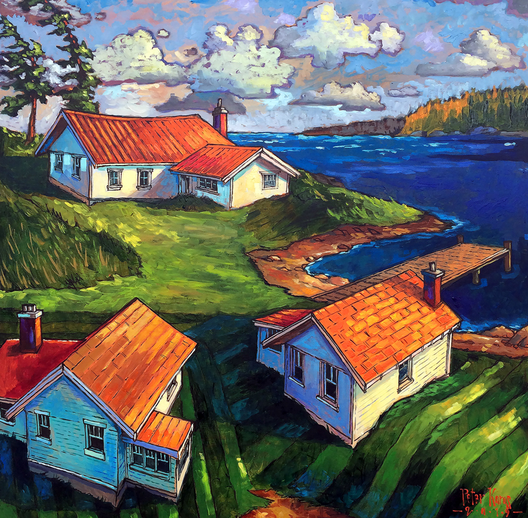 Karas, Peter - painting of three houses near water