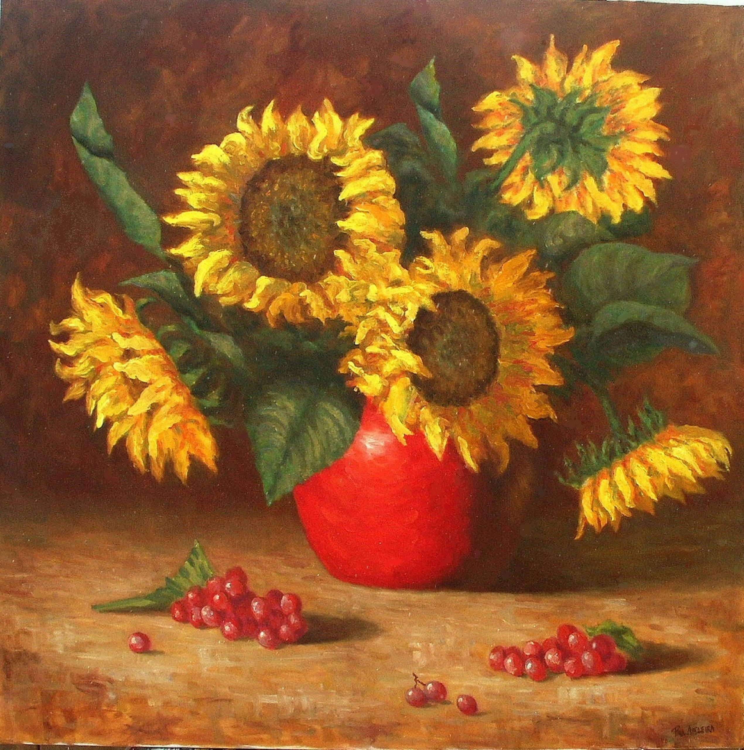 Abeleira, Paul - painting of 5 sunflowers in a red vase